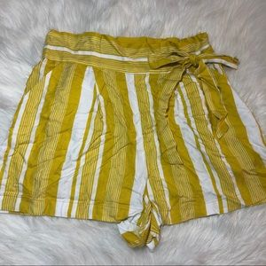 Forever 21 Yellow and Cream Striped Shorts Large